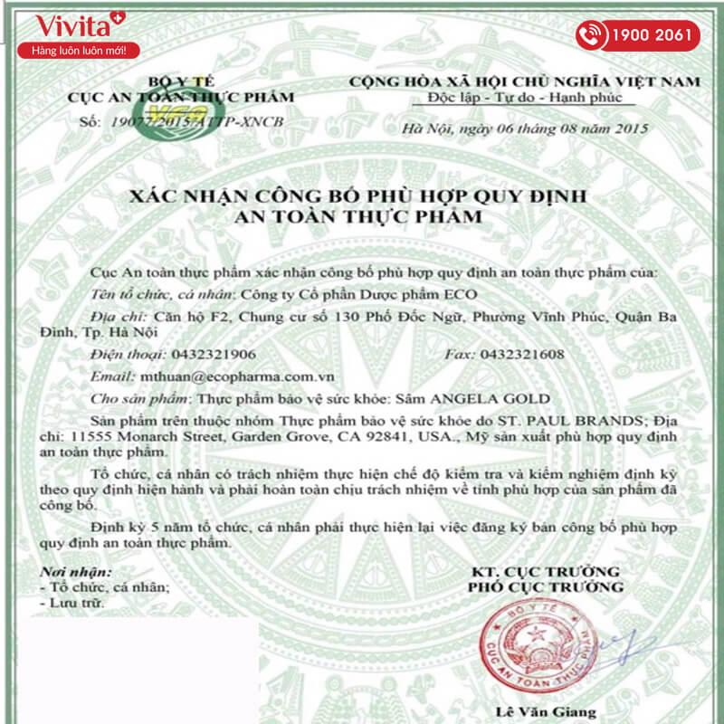 giấy chứng nhận sâm angela gold