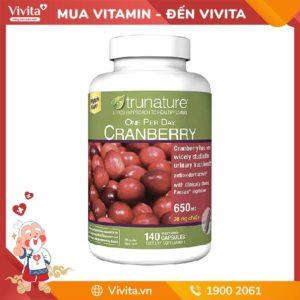 Viên Trunature Cranberry 650mg - Hỗ trợ viêm đường tiết niệu hiệu quả